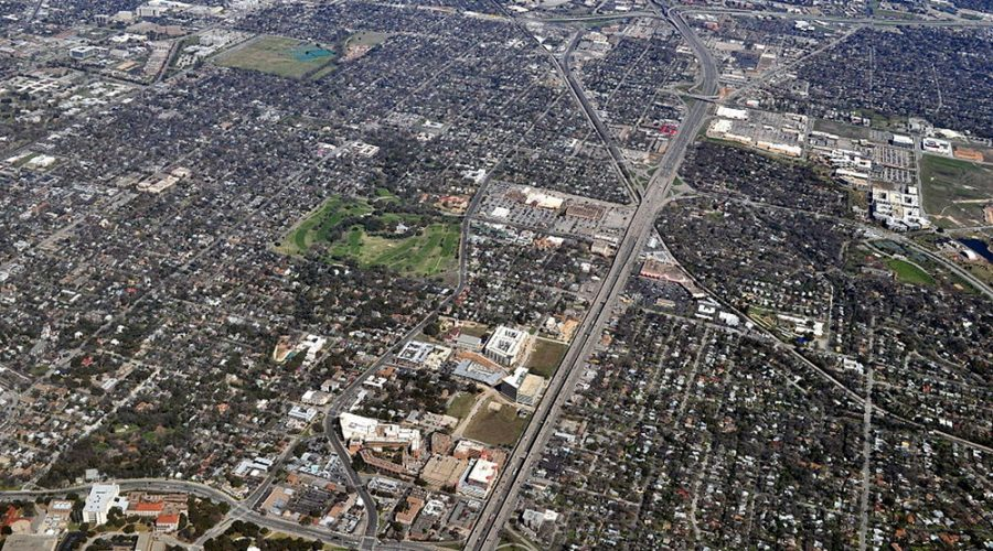 An overhead photograph of Austin