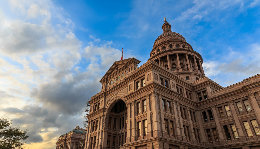 Low angle image of the Texas Capitol