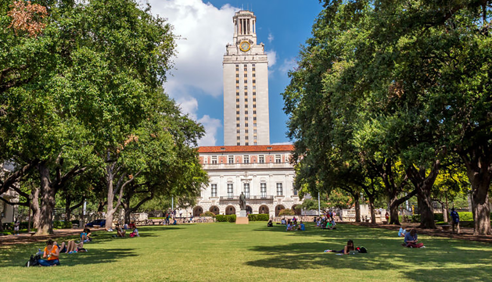 The clock tower at the University of Texas in Austin