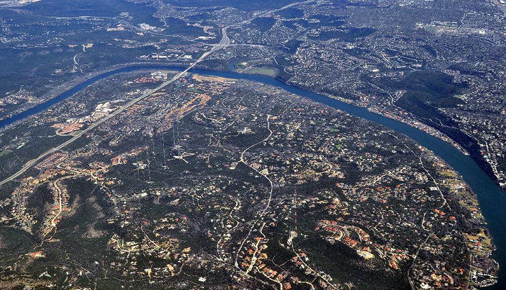 An overhead photograph of downtown Austin