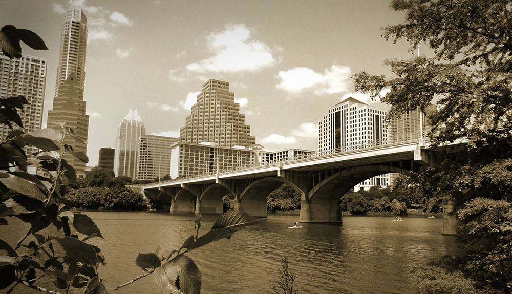 Downtown Austin skyline with Lady Bird Lake in the foreground