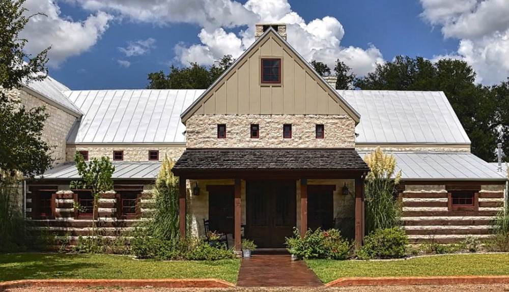 A home built in the rustic Hill Country Home style