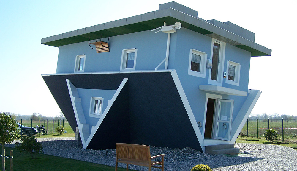 A house that has intentionally been built upside down