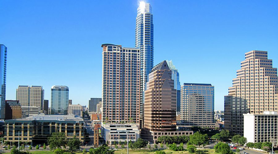 Several buildings in downtown Austin