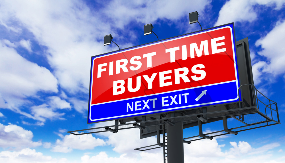 Billboard that says: First Time Buyers, next exit