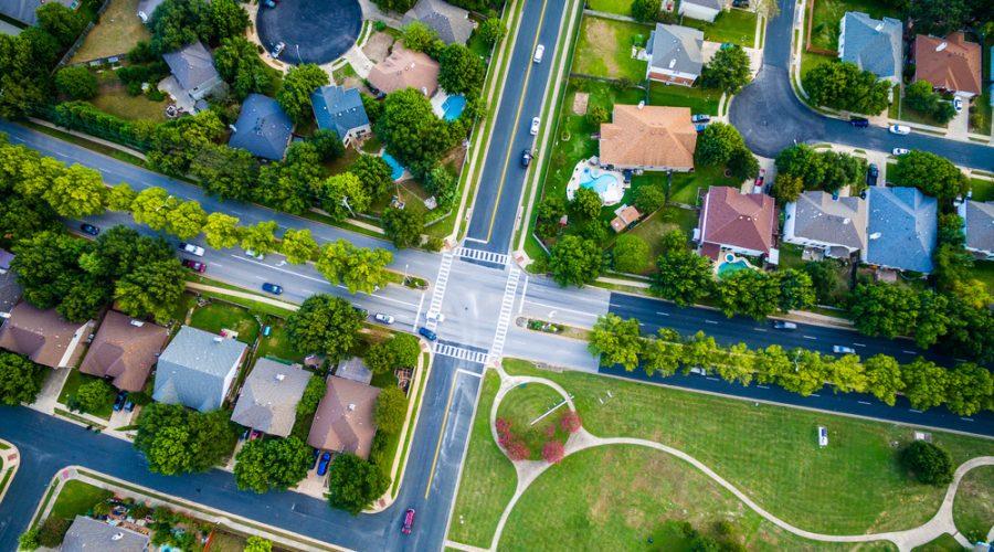 Overhead view of an Austin neighborhood