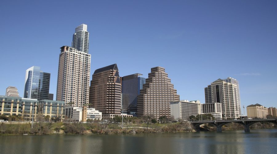 Austin skyscrapers with Lady Bird Lake in the foreground