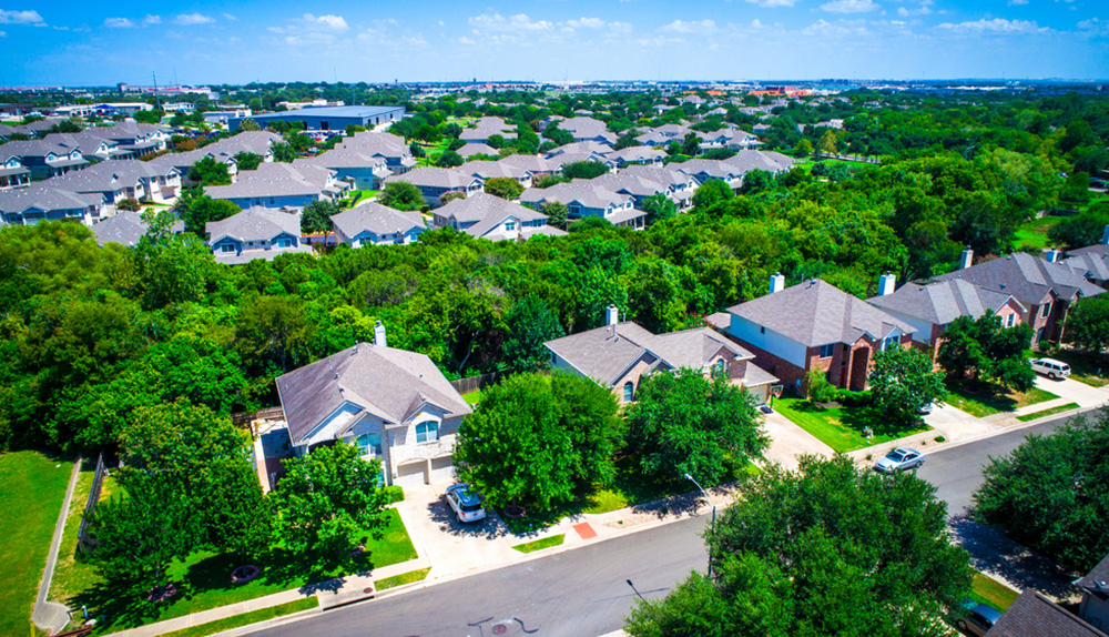 Overhead image of a planned community in Austin