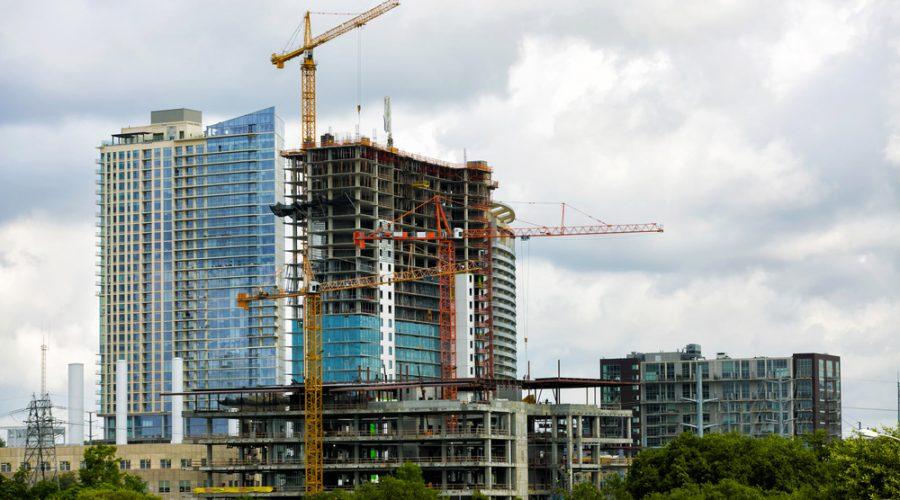Apartment building under construction in Austin