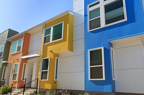 Exterior of a colorful condominium complex