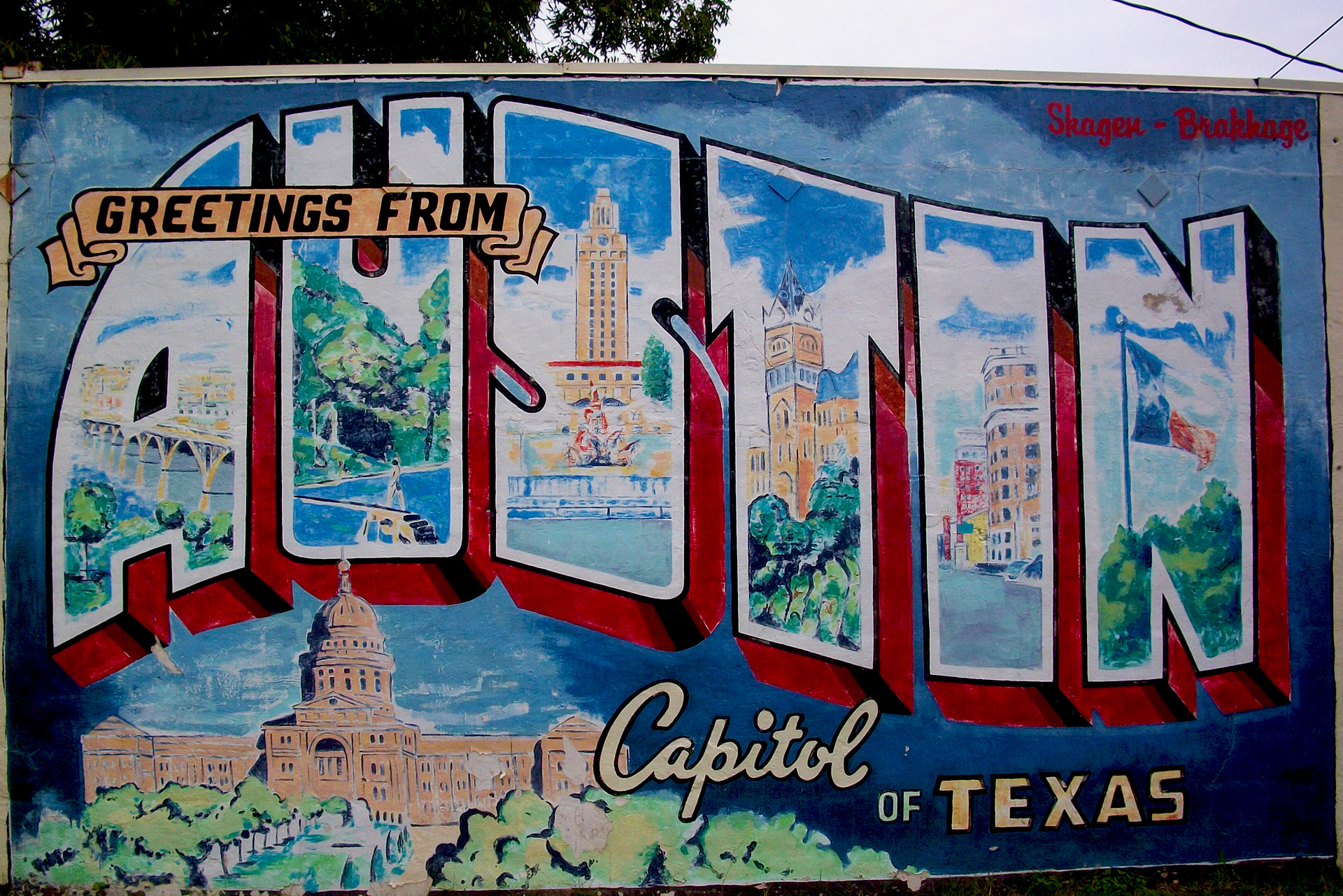 The Greetings From Austin mural on south 1st street