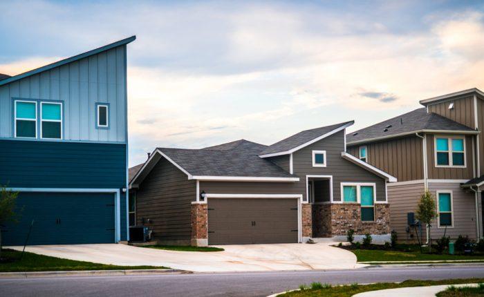 Modern homes in a planned development