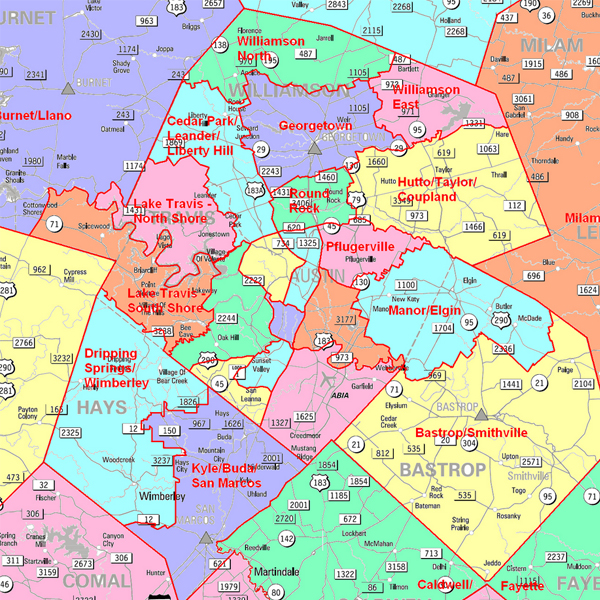 A map of Austin, Texas and its surrounding suburbs