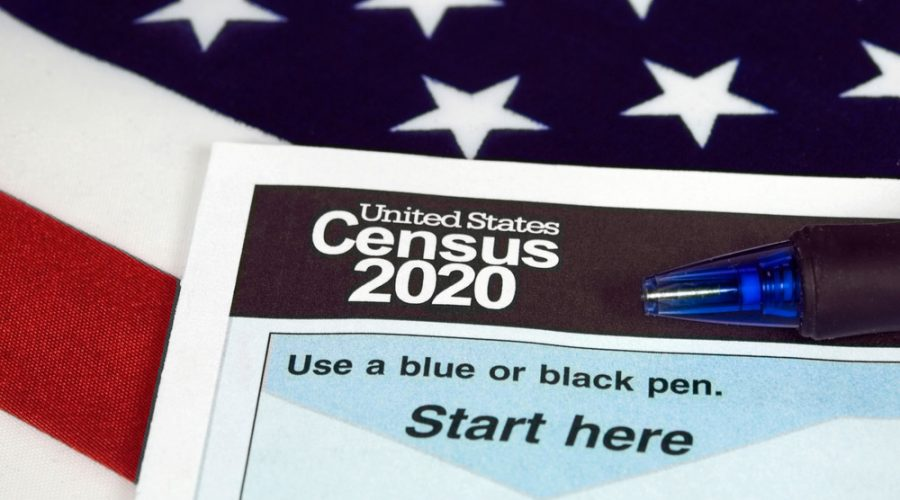 A photograph of the 2020 Census form