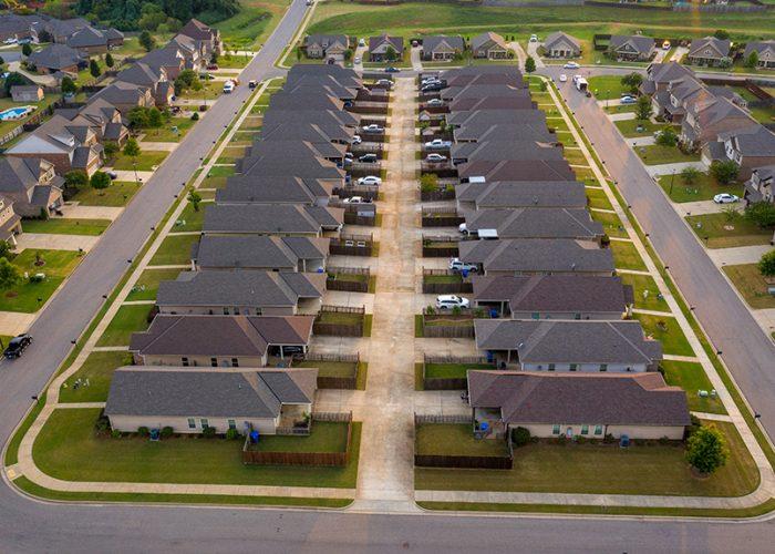 An overhead image of an HOA neighborhood