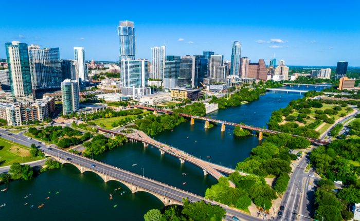 Overhead image of downtown Austin, TX.